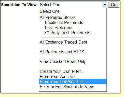 Preferred Stock List Example